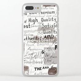 Grunge hipster pattern with different words and signatures Clear iPhone Case