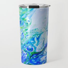 Spring Water, Blue, Pour Painting Travel Mug