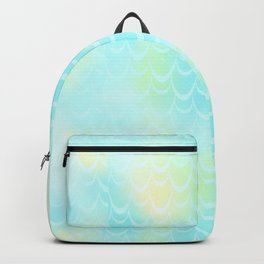 Mint Blue and Yellow Mermaid Tail Abstraction. Magic Fish Scale Pattern Backpack