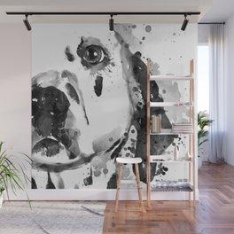 Black And White Half Faced Dalmatian Dog Wall Mural