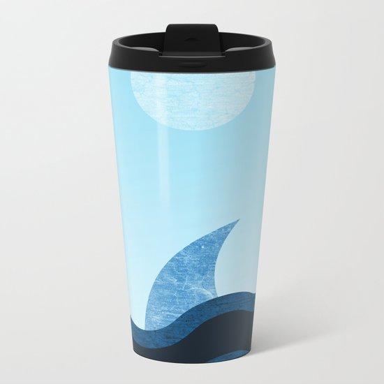 Morning Shark in Sea Waves Metal Travel Mug