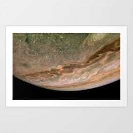 Surface and storms of Planet Jupiter Art Print
