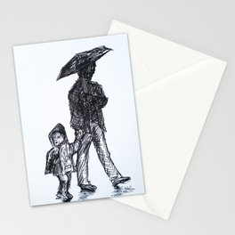 wandering in the rain‏ Stationery Cards