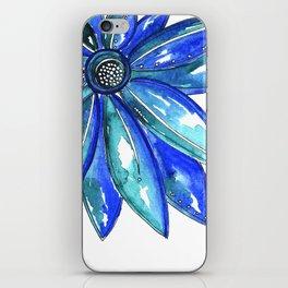 Blue Watercolor flower iPhone Skin