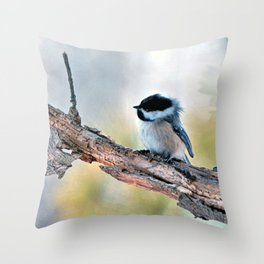 Chickadee Against the Wind Throw Pillow
