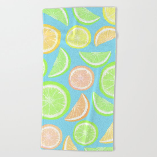 Mixed Citrus - blue Beach Towel