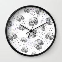 skulls Wall Clocks featuring SKULLS by Vickn