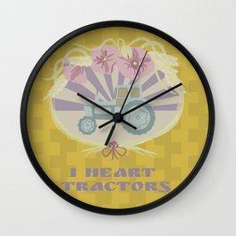 I Heart Tractors - mustard Wall Clock