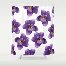 violet Blossoms of orchids II Shower Curtain