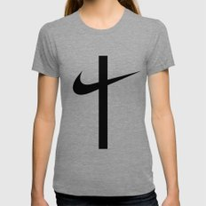 Swoosh Cross (... And Deliver Us From Evil) / Black LARGE Tri-Grey Womens Fitted Tee