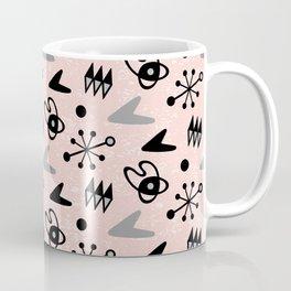 Mid Century Modern Atomic Boomerang Pattern Pink Grey 106 Coffee Mug