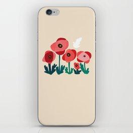 Poppy flowers and bird iPhone Skin