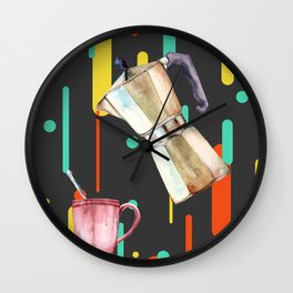 Coffee Pop Art Collage Good Morning Wall Clock
