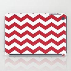 Red and White Bold Chevron Stripes iPad Case