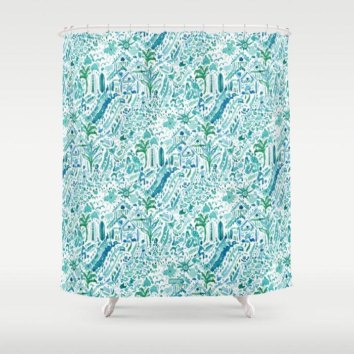 IDEAL BEACH HOUSE Aqua Watercolor Print Shower Curtain by ...