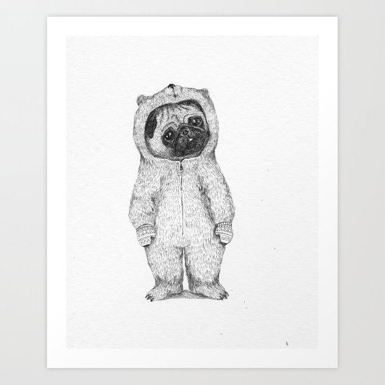 Winter pug Art Print