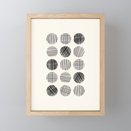 Abstract Line Work Circles in Black and Cream Framed Mini Art Print