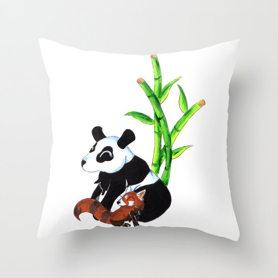 Panda Duo Throw Pillow