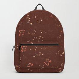 Brown pink ivory watercolor hand painted floral berries Backpack