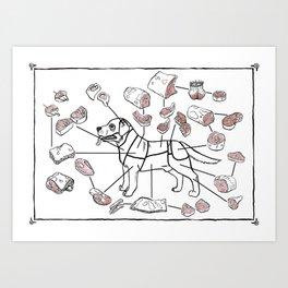 Meat Chart Art Print