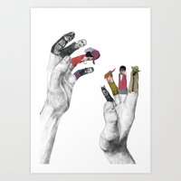 hands Art Prints featuring Us and Them by Jamie Mitchell