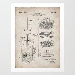 Coffee Filter Patent - Coffee Shop Art - Antique Art Print