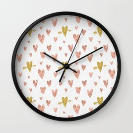 Yellow Rose Gold Hearts Pattern Wall Clock