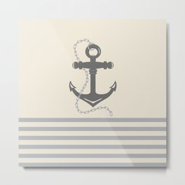 AFE Gray Anchor and Chain Metal Print