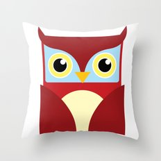The Red Owl. Throw Pillow