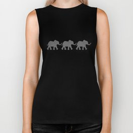 Three Elephants - Teal and White Chevron on Grey Biker Tank