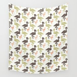 Green Brown and Pink Nature Flamingo Silhouette Wall Tapestry