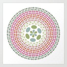 Retro floral circle 1 Art Print