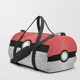 Sparkly red and silver sparkles poke ball Duffle Bag