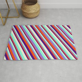 Eye-catching Purple, Red, Indigo, Beige & Aquamarine Colored Stripes/Lines Pattern Rug