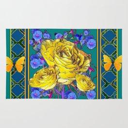 TEAL BLUE ART & YELLOW ROSE BLUE MORNING GLORY FLOWERS Rug