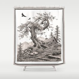 BLUE RIDGE OAK AND MY FANTASY CABIN ON THE HILL Shower Curtain