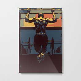 Pull ups at the gym - crossfit Metal Print