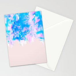 Girly Pastel Pink and Blue Watercolor Paint Drips Stationery Cards