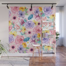 Modern elegant pink lavender yellow watercolor floral Wall Mural