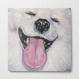 SAMOYED dog art portrait from an original painting by L.A.Shepard Metal Print