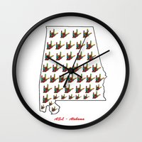 alabama Wall Clocks featuring ASL - Alabama by EloiseArt