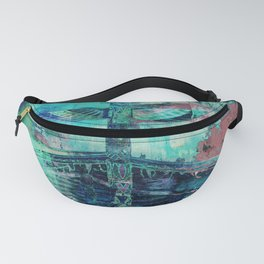 Totem Cabin Abstract - Teal Fanny Pack