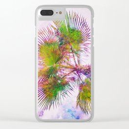 Colorful palm tree on pink and blue sky Clear iPhone Case
