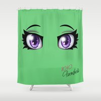 humor Shower Curtains featuring Parenthesis Humor Eyes by Minerva Mopsy