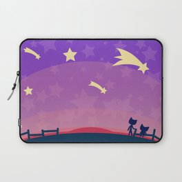 Starry sunset seen by cats Laptop Sleeve