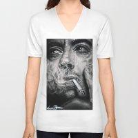 robert downey jr V-neck T-shirts featuring Robert Downey JR by Luna Perri