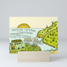 home is where you park it // wandering in new zealand // retro surf art by surfy birdy Mini Art Print