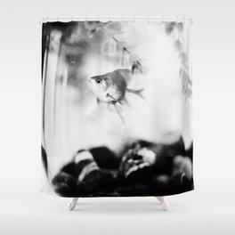 Black and White Goldfish  Shower Curtain