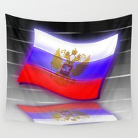 russia Wall Tapestries featuring Flag of Russia by Pavlo Tereshin