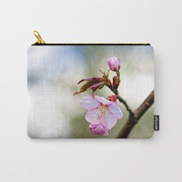 Pink Sakura Flower Against The Beige Background Carry-All Pouch